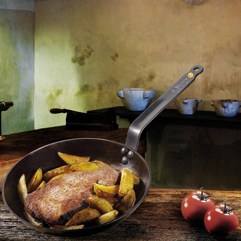 BRIKSUN 26 cm de di/ámetro Altura 6 cm con mango de madera de inducci/ón Sart/én de hierro fundido
